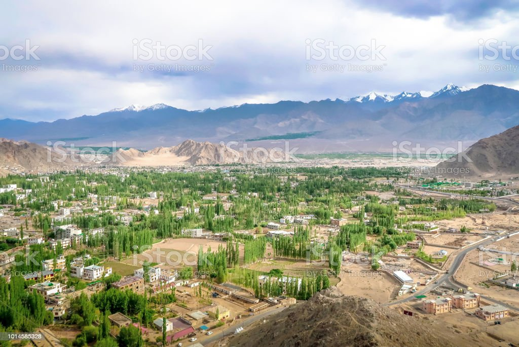 View of leh town from Shanti stupa in Leh Ladakh, India.