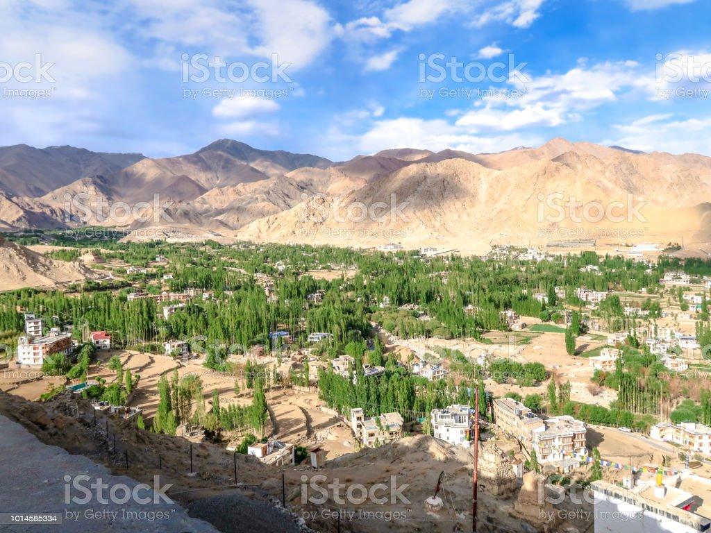 View of leh town from Shanti stupa in Leh Ladakh, India.