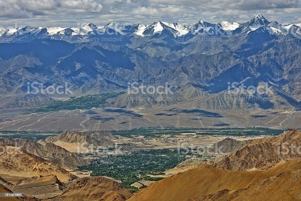 View of Leh Valley with Stok Kangri Ladakh India royalty-free stock photo