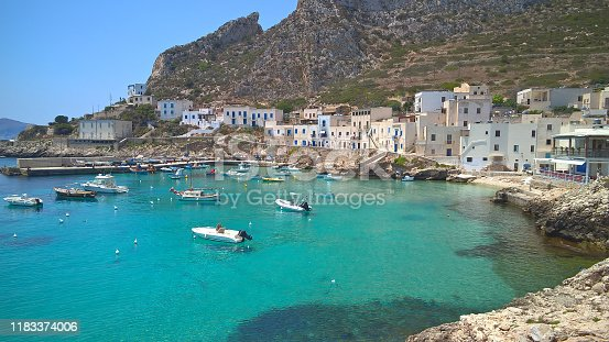 View of Levanzo island in the Mediterranean sea west of Sicily, Italy
