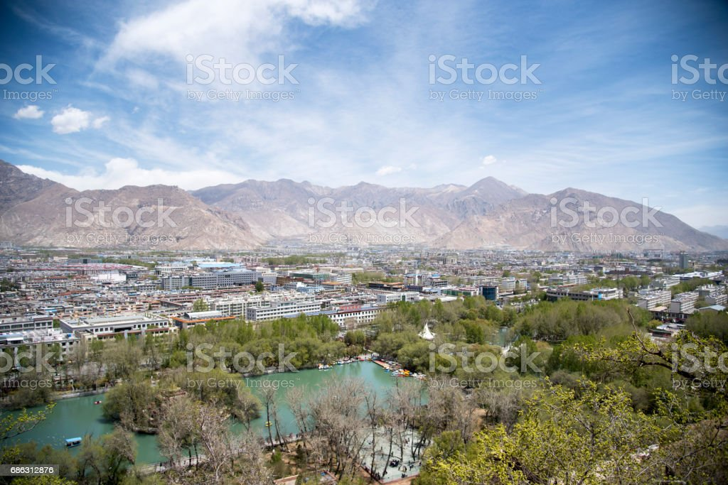 View of Lhasa from the Potala Palace stock photo