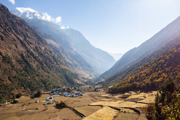 View of Lho, Nepal stock photo