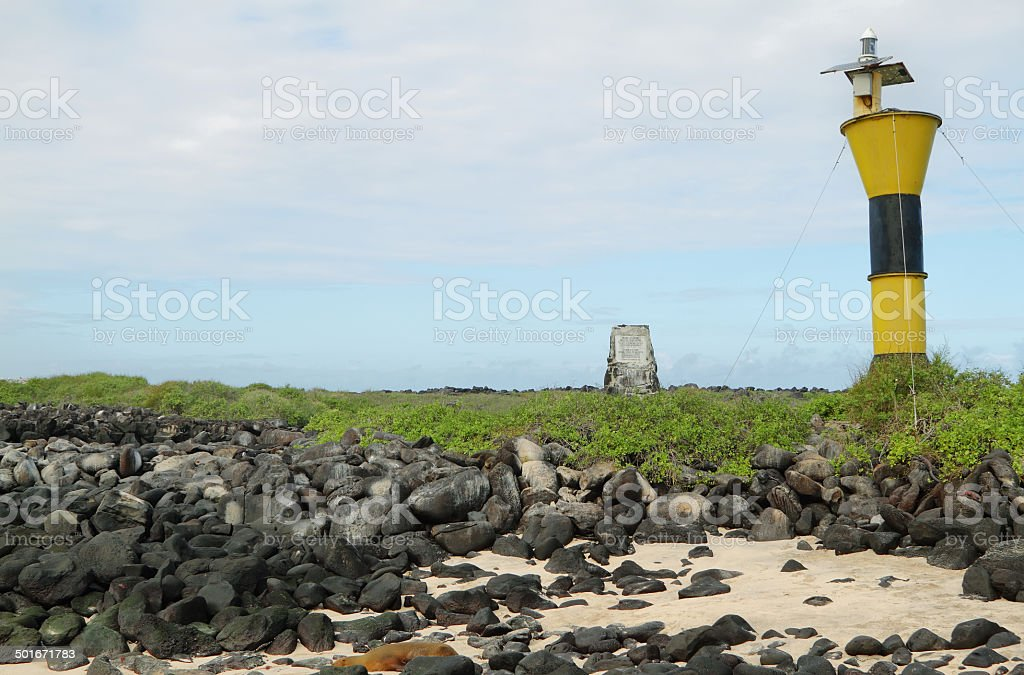 View of lighthouse in Punta Suarez stock photo