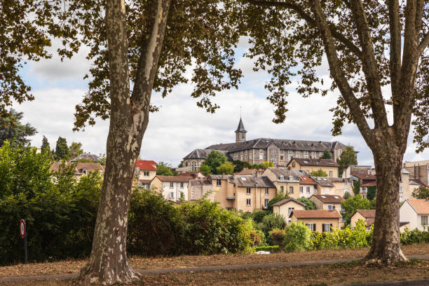 View of Limoges from park. stock photo