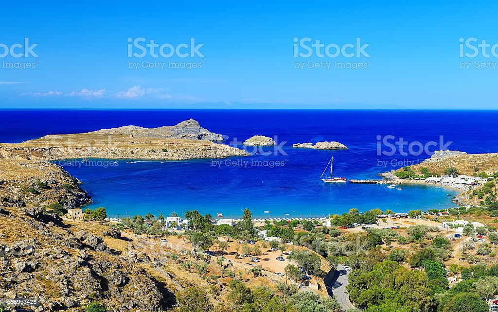 View of Lindos Bay, Rhodes. Dodecanese Islands, Greece, stock photo