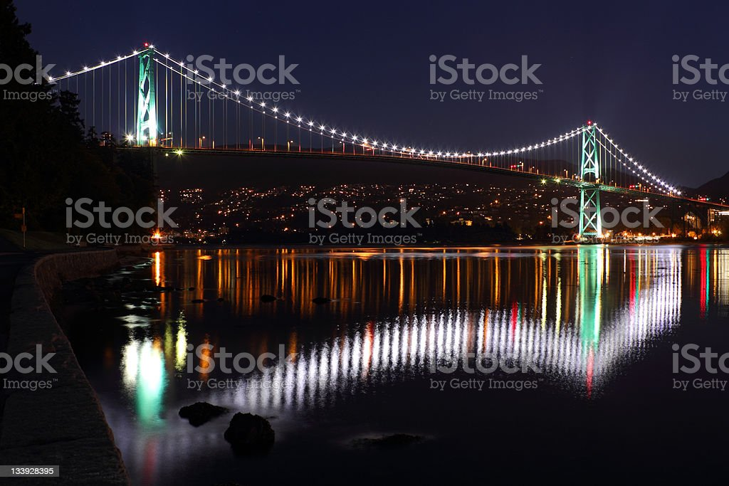 View of Lions Gate Bridge in Vancouver at night stock photo