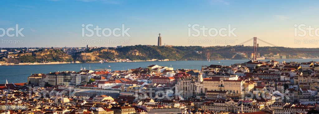 View of Lisbon, Portugal from Miradouro da Senhora do Monte - Royalty-free Aerial View Stock Photo