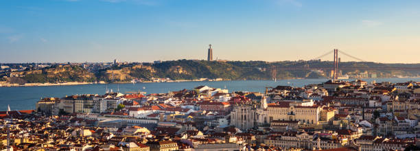 View of Lisbon, Portugal from Miradouro da Senhora do Monte stock photo