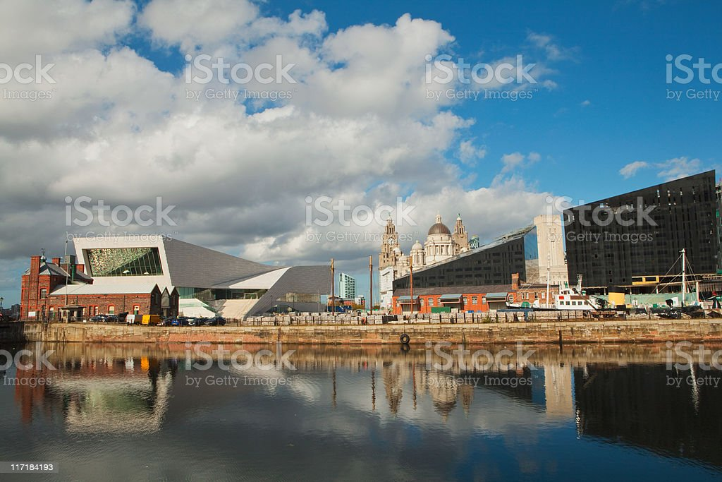 View of Liver Building from Albert Dock, Liverpoool, UK stock photo