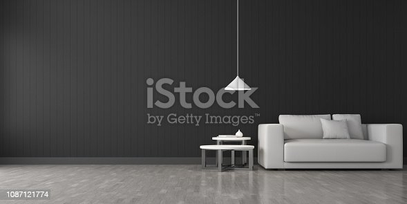 924294300 istock photo View of living room space with furnitures, Black wall and light grey laminate floor.Perspective of modern architecture design. 3d rendering. 1087121774