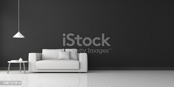 924294300 istock photo View of living room space with furnitures, Black wall and light grey laminate floor.Perspective of modern architecture design. 3d rendering. 1087121814