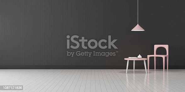 924294300 istock photo View of living room space with furnitures, Black wall and light grey laminate floor.Perspective of modern architecture design. 3d rendering. 1087121836