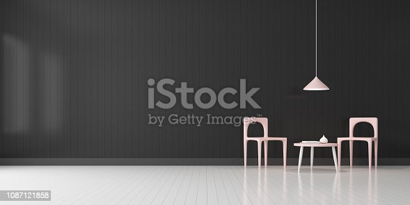 924294300 istock photo View of living room space with furnitures, Black wall and light grey laminate floor.Perspective of modern architecture design. 3d rendering. 1087121858