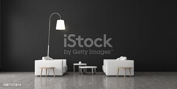 924294300 istock photo View of living room space with furnitures, Black wall and light grey laminate floor.Perspective of modern architecture design. 3d rendering. 1087121914