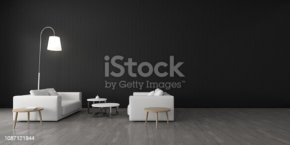 924294300 istock photo View of living room space with furnitures, Black wall and light grey laminate floor.Perspective of modern architecture design. 3d rendering. 1087121944