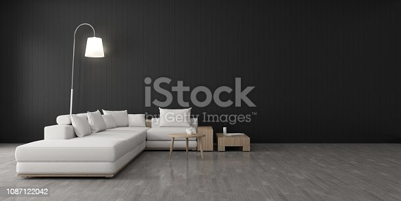 924294300 istock photo View of living room space with furnitures, Black wall and light grey laminate floor.Perspective of modern architecture design. 3d rendering. 1087122042