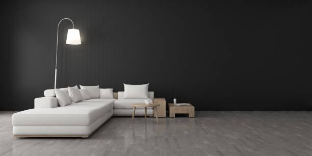Vista del espacio de la sala de estar con muebles, pared negra y suelo laminado gris claro. Perspectiva del diseño de la arquitectura moderna. Render 3D. - foto de stock