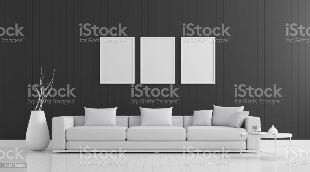 Tremendous View Of Living Room Space With Sofa Set On Black Wall And Pabps2019 Chair Design Images Pabps2019Com