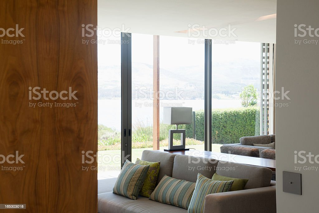 View of living room through doorway royalty-free stock photo