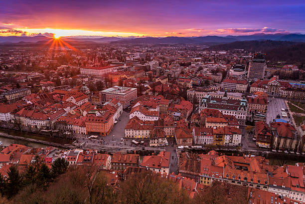 View of Ljubljana centre from the castle, Slovenia View of Ljubljana city centre, the capital of Slovenia, from the castle ljubljanica river stock pictures, royalty-free photos & images