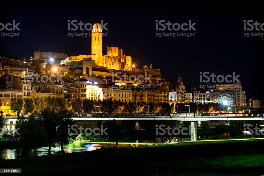 View of Lleida and the Old Cathedral stock photo