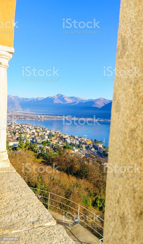 View of Locarno and Lake Maggiore from Madonna del Sasso stock photo