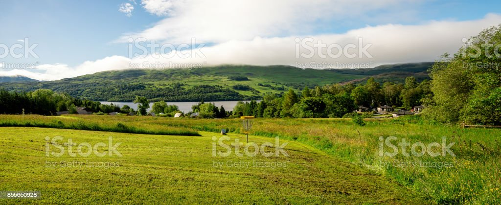 A view of Loch Tay lake from disc golf course in central Scotland, Great Britain stock photo