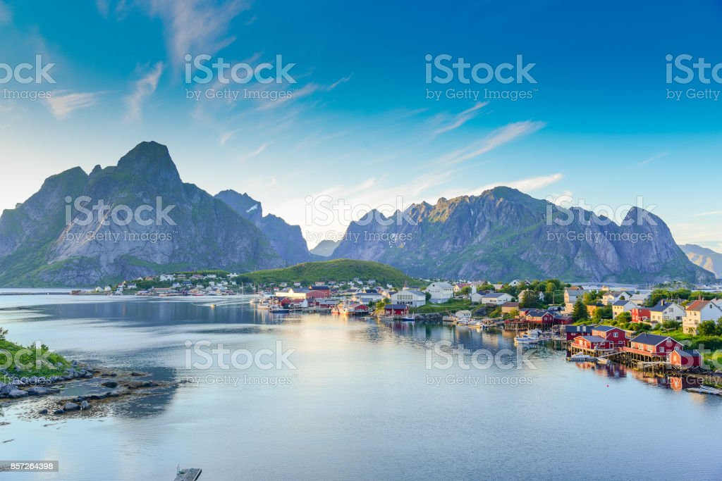 View of Lofoten Islands in Norway with sunset scenic stock photo