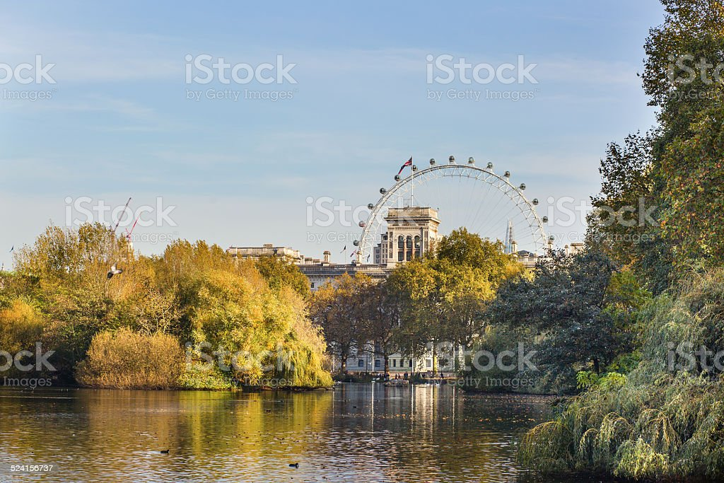 View of London Eye from St. James park stock photo
