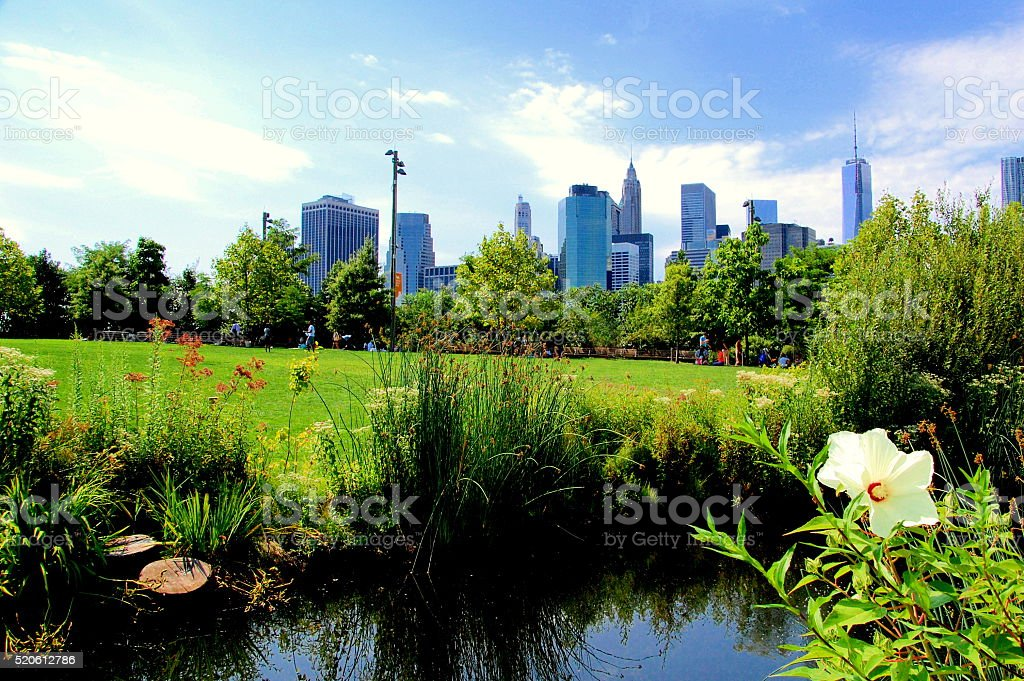 View of Lower Manhattan from Brooklyn Heights stock photo