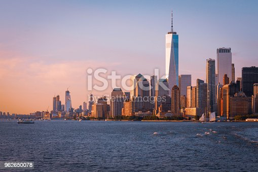 View of Lower Manhattan as the Staten Island Ferry heads away