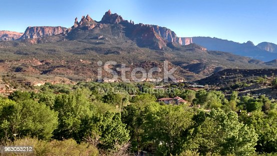 This is the photograph of the landscape of Zion National Park in Utah, USA.\nZion is well known for the one of the most famous sightseeing site in this area, many people come to see this beautiful scenery every year.