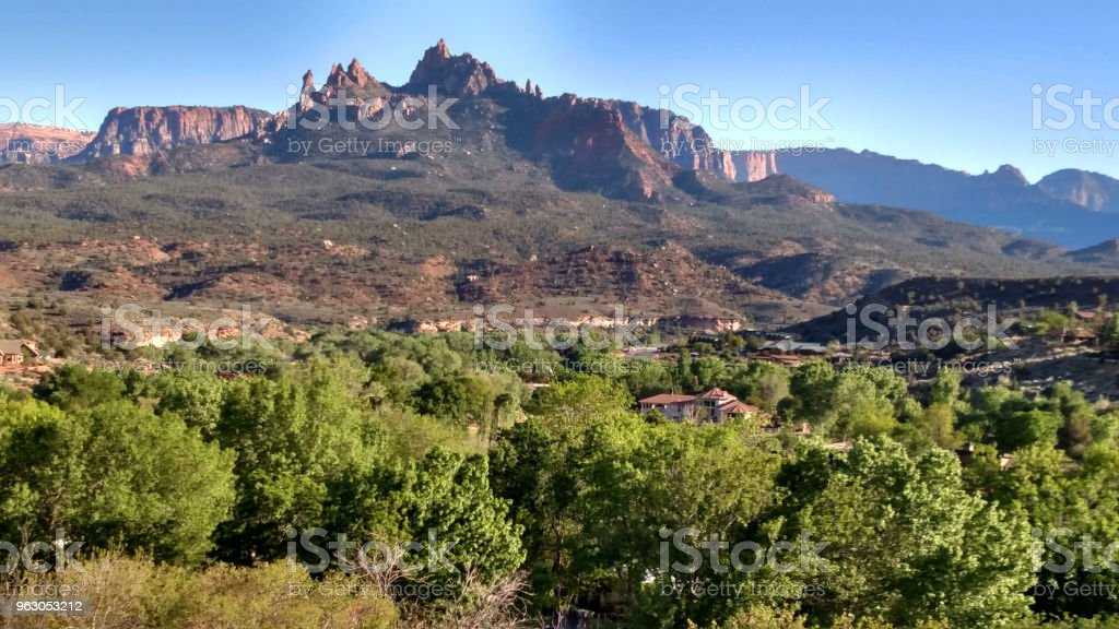 View of lower Zion Canyon looking south toward Eagle Crags and Canaan Mountain from Springdale Utah stock photo