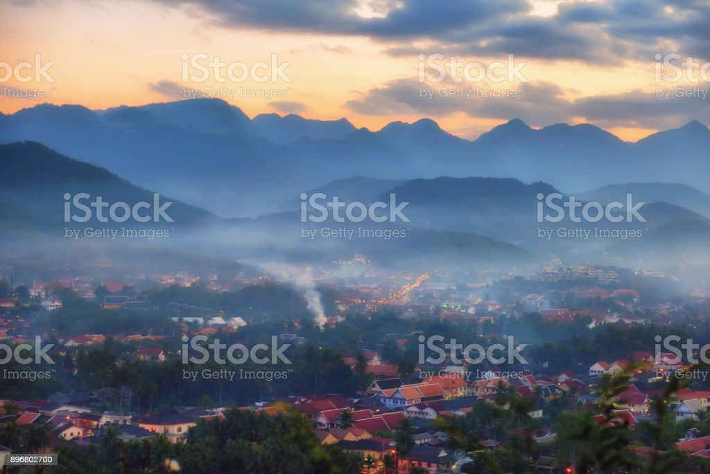 View of Luang Prabang city from Mount Phousi viewpoint stock photo