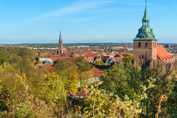 View of Luneburg. Germany View of Luneburg from Kalkberg. Germany lüneburg stock pictures, royalty-free photos & images