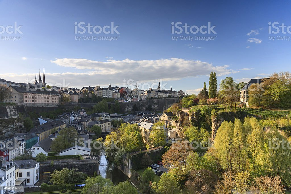 View of Luxembourg skyline at sunset stock photo