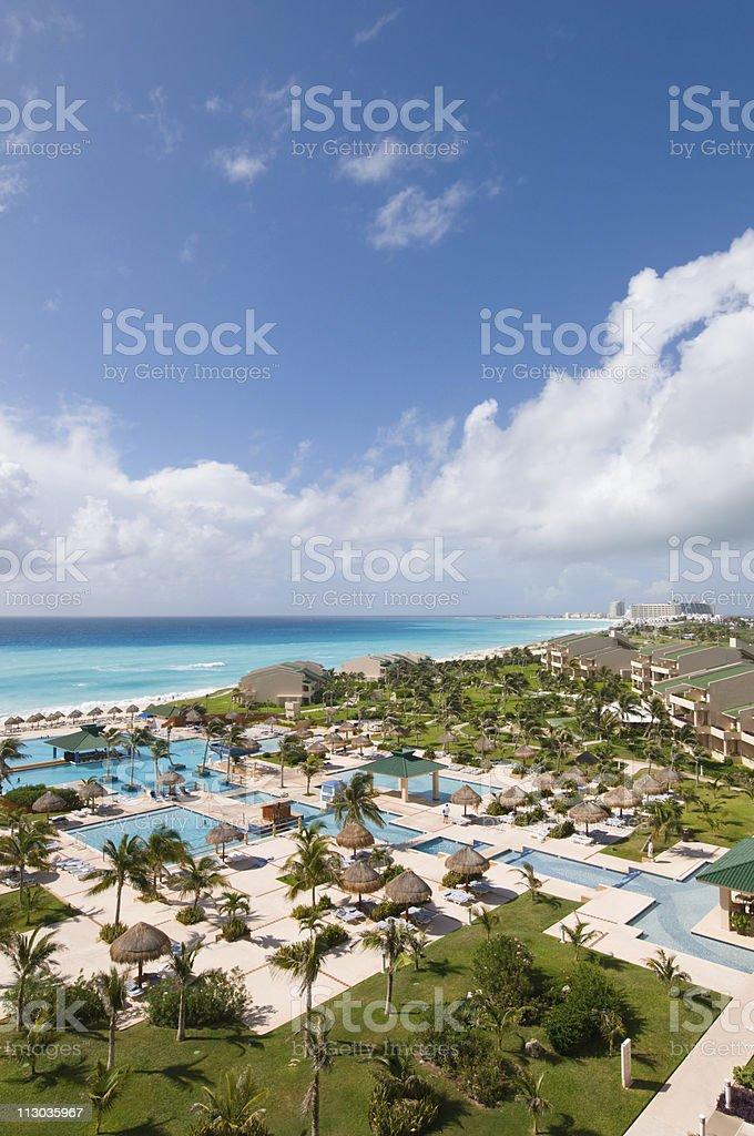 View of luxury tropical resort stock photo