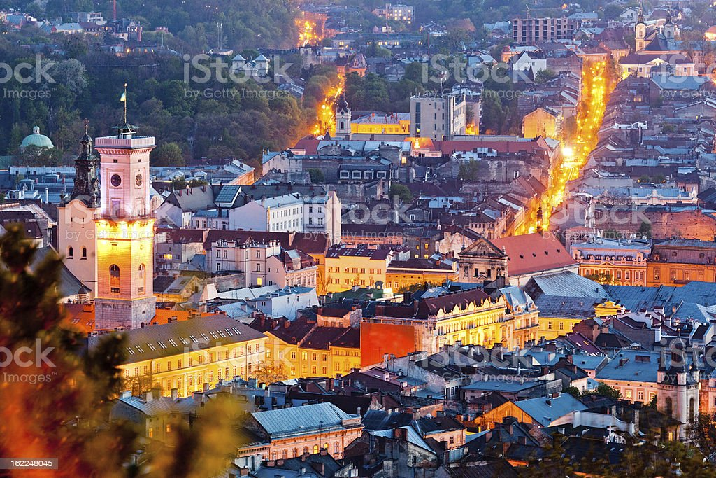 View of Lviv from Castle Hill stock photo