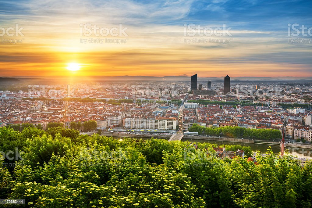 View of Lyon at sunrise stock photo
