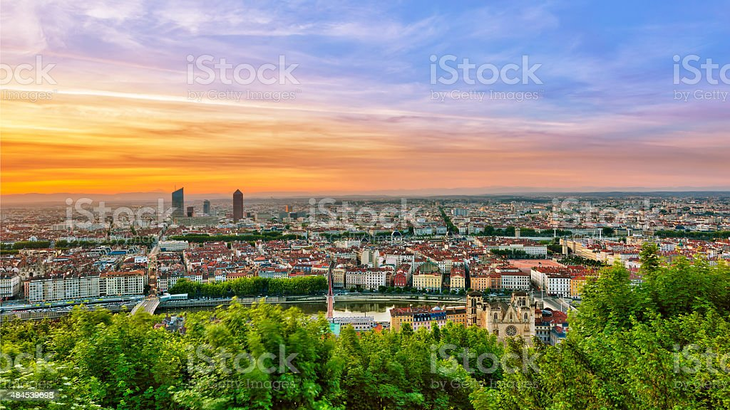 View of Lyon city during sunrise stock photo