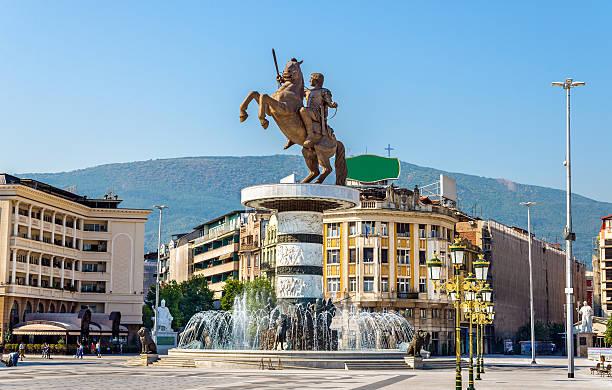 view of macedonia square in skopje - üsküp stok fotoğraflar ve resimler
