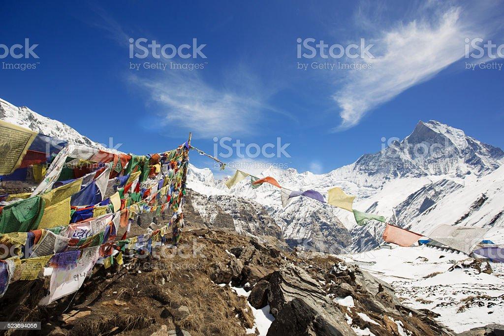 View of Machapuchare peak from Annapurna base camp stock photo
