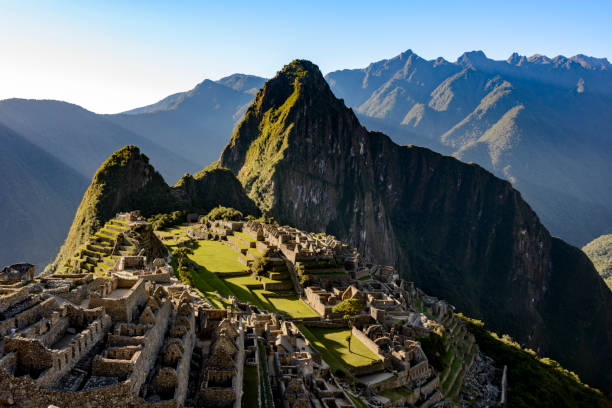 view of machu picchu as seen from the inca trail - empire stock pictures, royalty-free photos & images