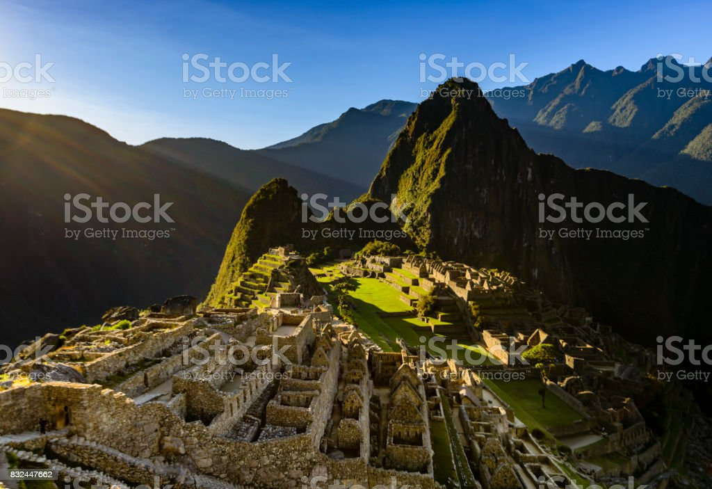 View of Machu Picchu as seen from the Inca Trail stock photo