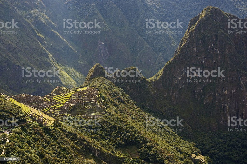 View of Machu Picchu from the Sun Gate stock photo