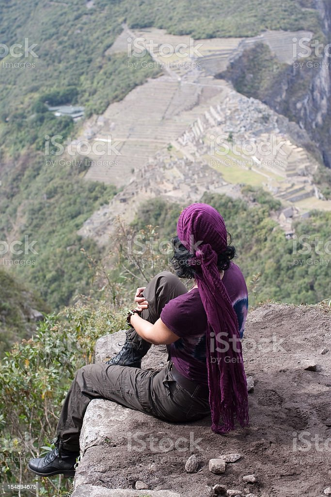 View of Machu Picchu with Woman stock photo