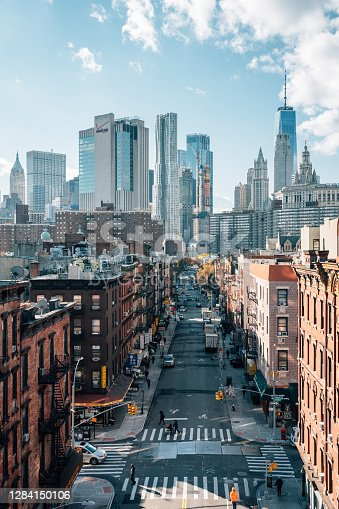 View of Madison Street and the Financial District from the Manhattan Bridge, in the Lower East Side, New York City
