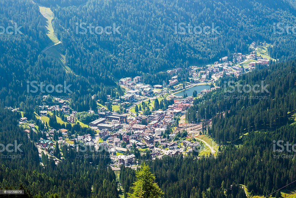 view of Madonna di Campiglio, a town in Trentino , Italy stock photo