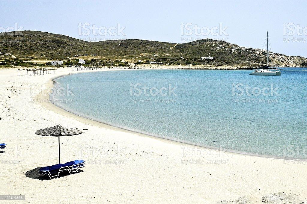 View of Maganari beach, Ios island, Greece stock photo