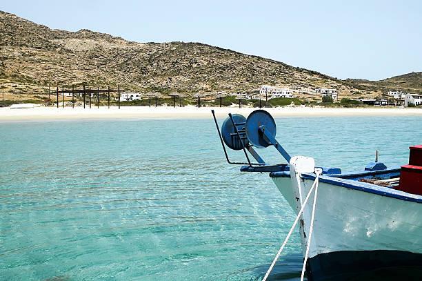 Blick auf Maganari beach, Ios Insel, Griechenland – Foto